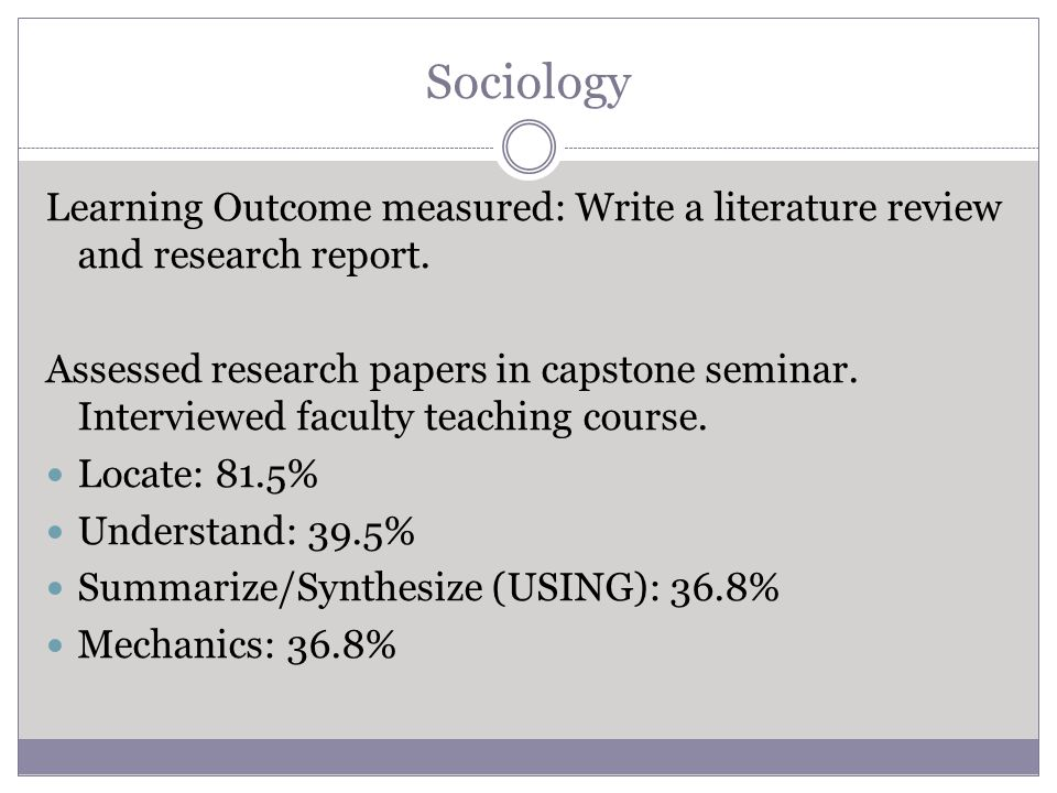 Sociology Learning Outcome measured: Write a literature review and research report.