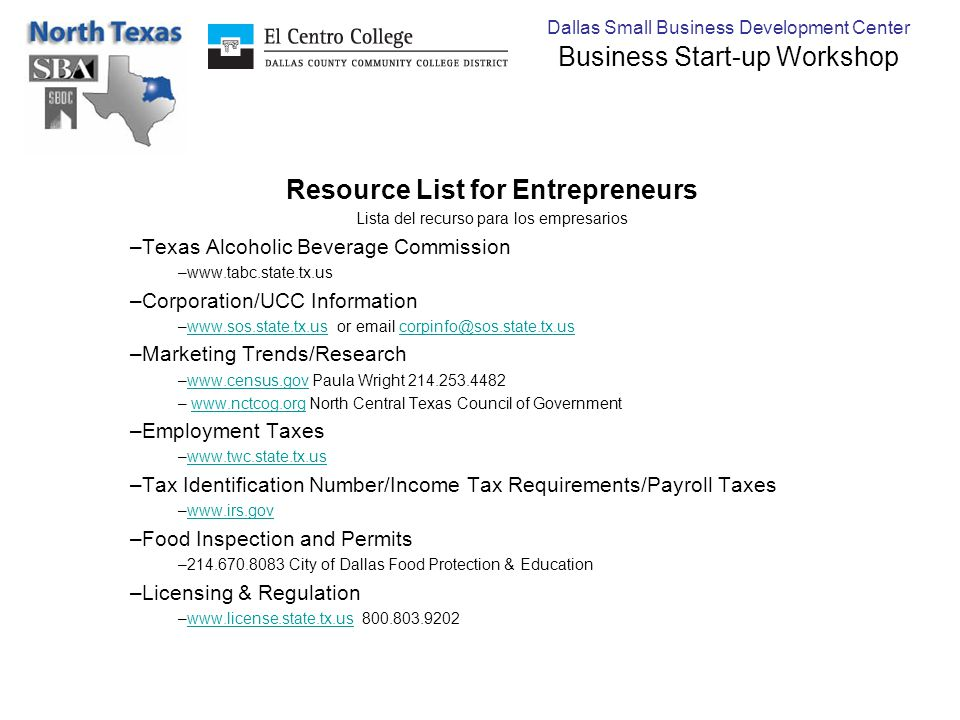 Dallas Small Business Development Center Business Start-up Workshop Resource List for Entrepreneurs Lista del recurso para los empresarios –Texas Alco