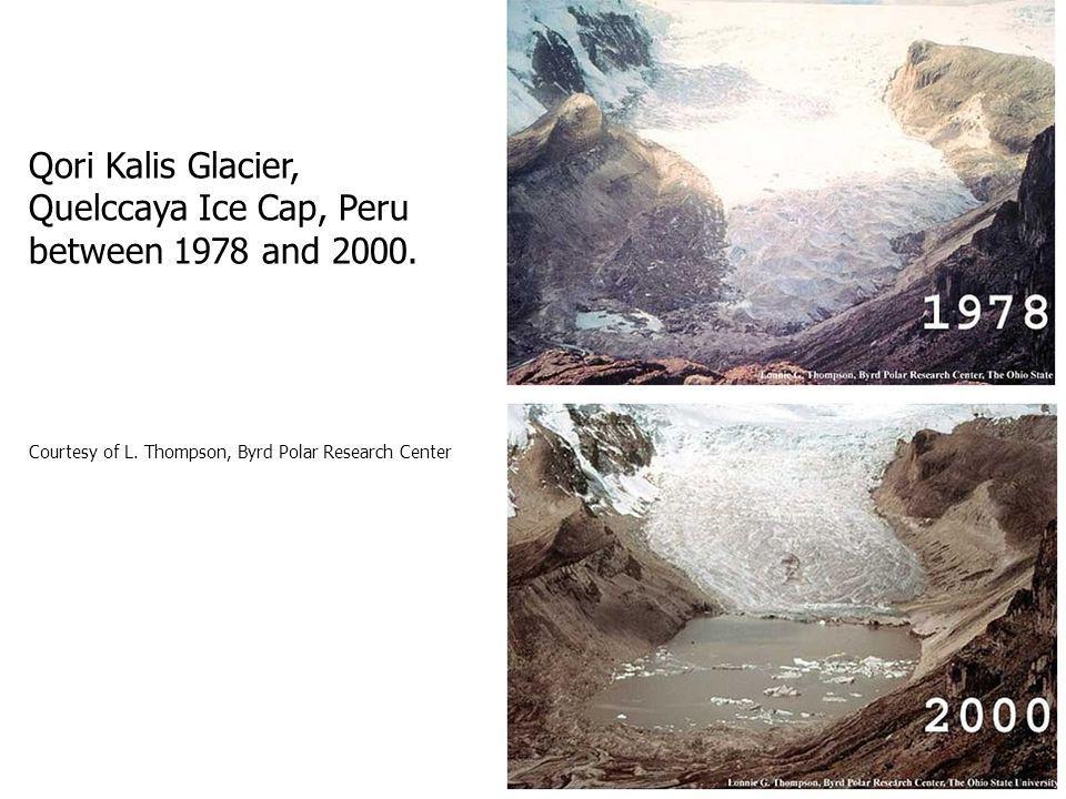 Qori Kalis Glacier, Quelccaya Ice Cap, Peru between 1978 and 2000.