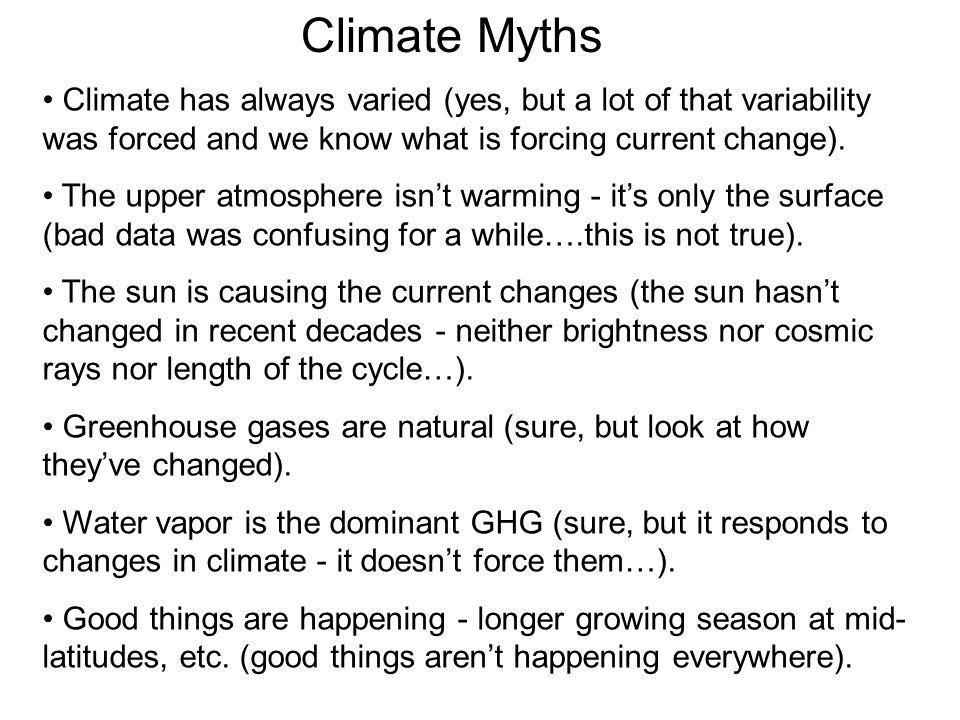 Climate Myths Climate has always varied (yes, but a lot of that variability was forced and we know what is forcing current change).