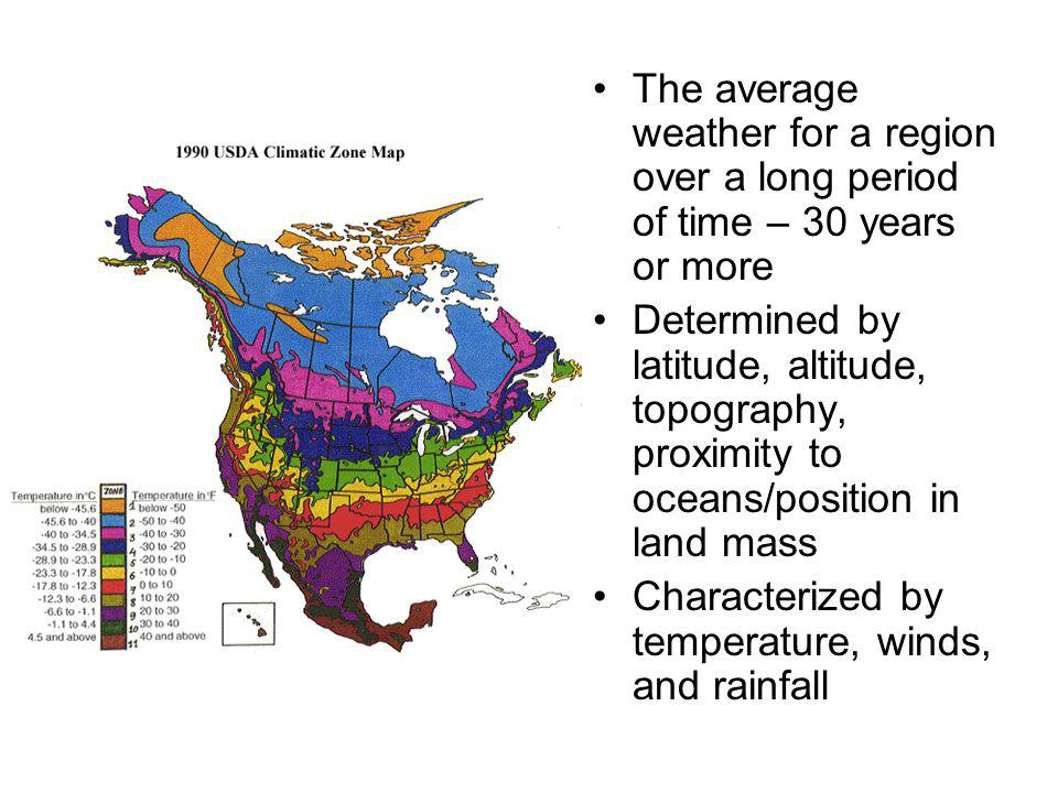 The average weather for a region over a long period of time – 30 years or more Determined by latitude, altitude, topography, proximity to oceans/posit