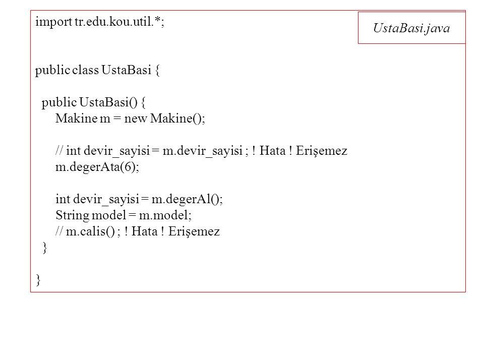 UstaBasi.java import tr.edu.kou.util.*; public class UstaBasi { public UstaBasi() { Makine m = new Makine(); // int devir_sayisi = m.devir_sayisi ; .