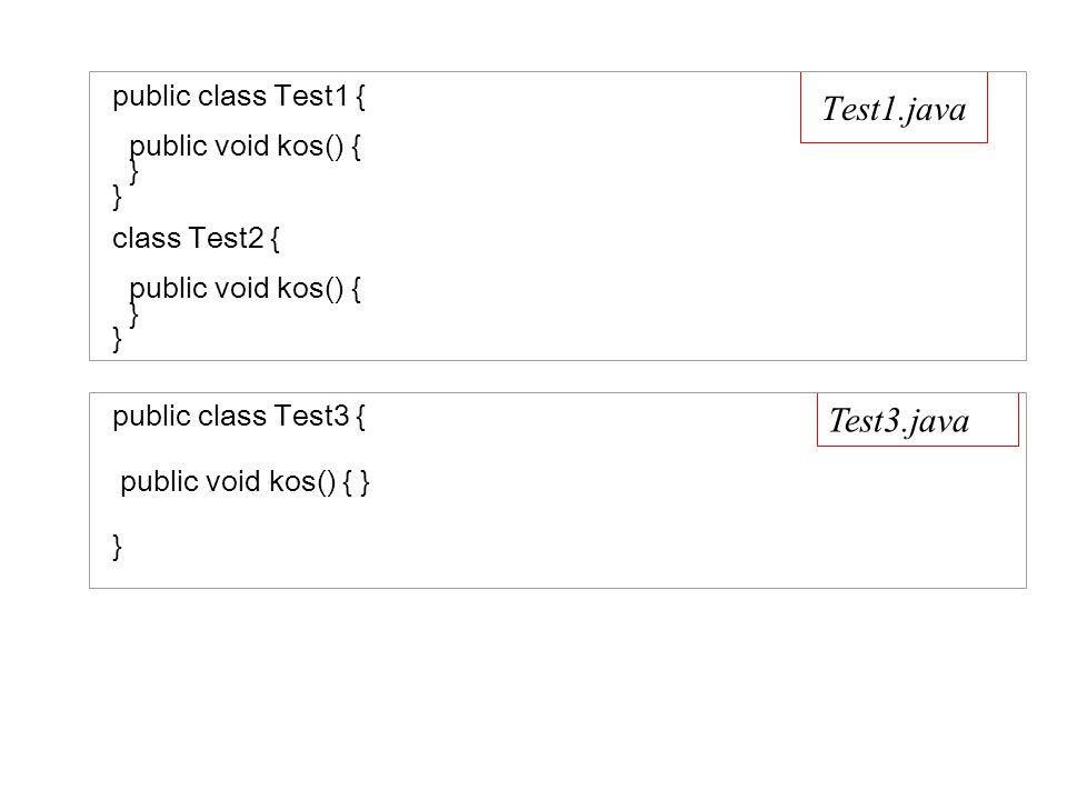 Test1.java public class Test1 { public void kos() { } } class Test2 { public void kos() { } } Test3.java public class Test3 { public void kos() { } }