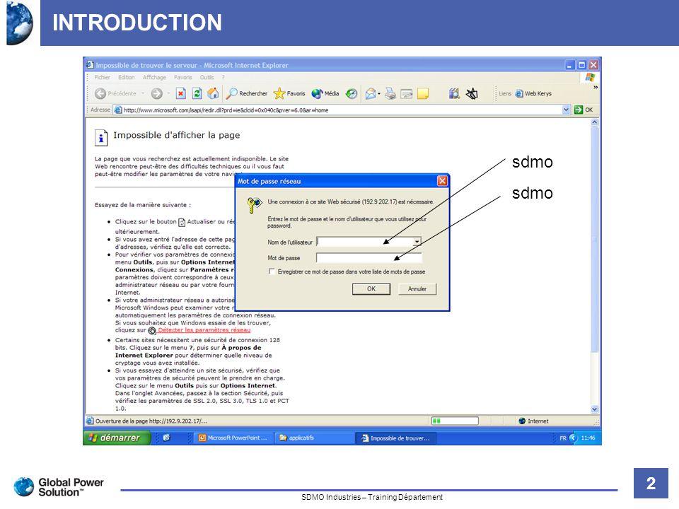 3 Titre de la diapositive SDMO Industries – Training Département INTRODUCTION