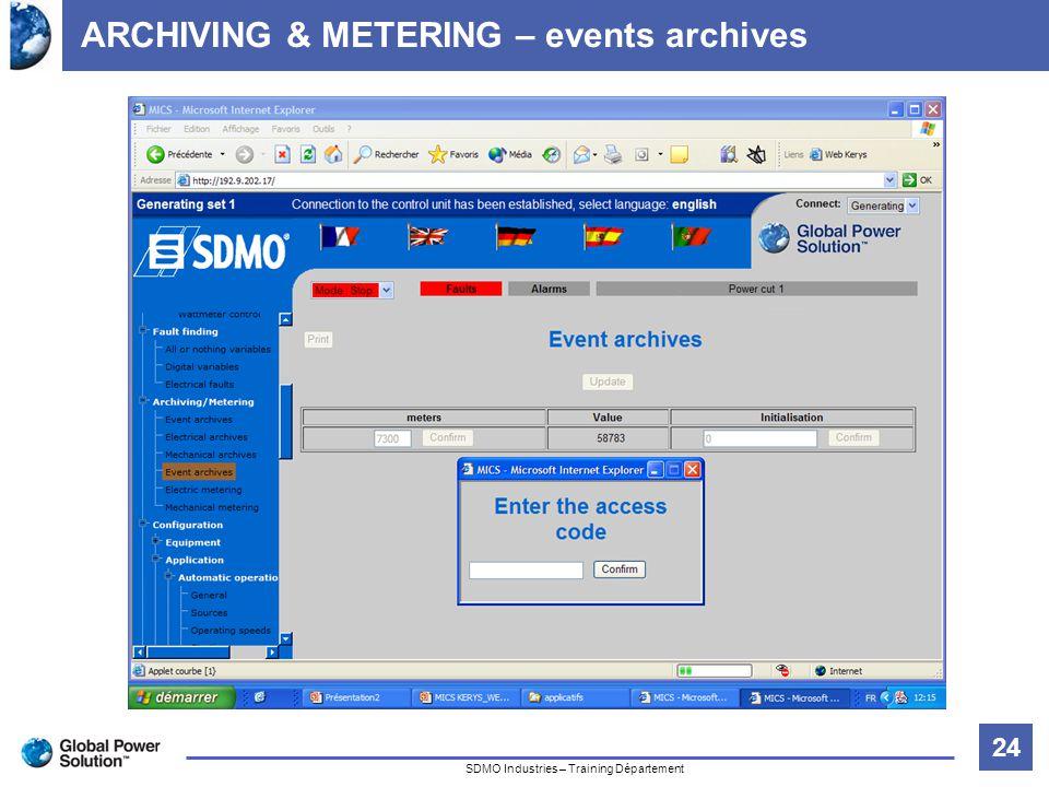 24 Titre de la diapositive SDMO Industries – Training Département ARCHIVING & METERING – events archives