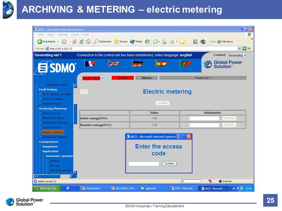 25 Titre de la diapositive SDMO Industries – Training Département ARCHIVING & METERING – electric metering