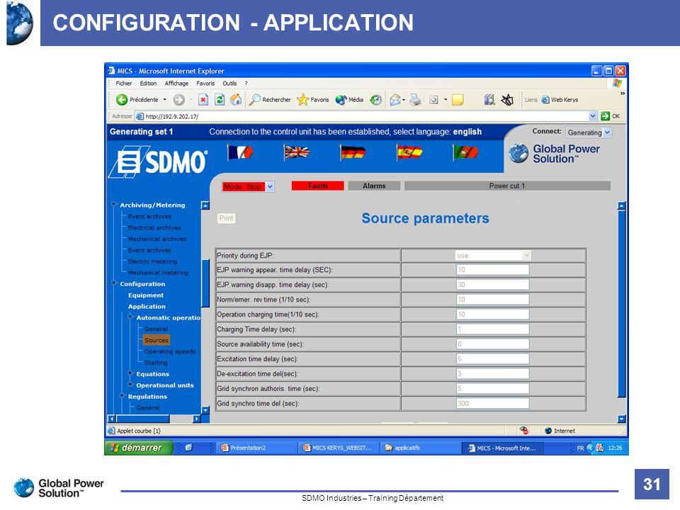 31 Titre de la diapositive SDMO Industries – Training Département CONFIGURATION - APPLICATION