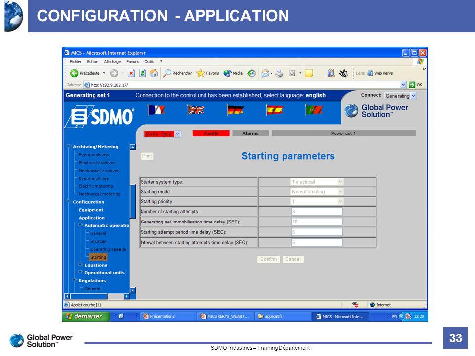 33 Titre de la diapositive SDMO Industries – Training Département CONFIGURATION - APPLICATION