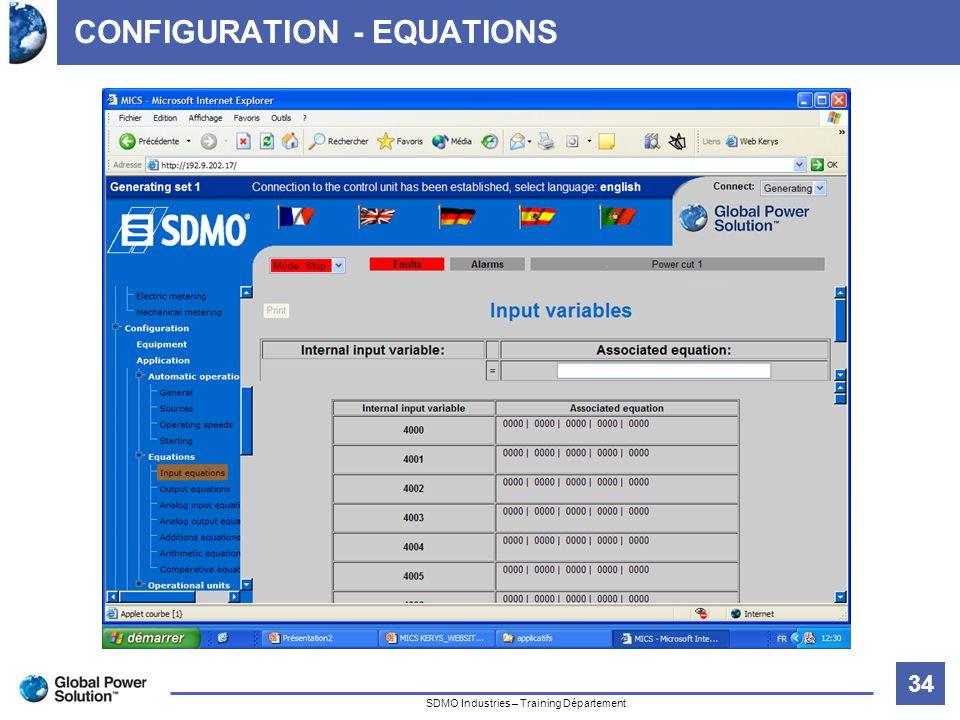 34 Titre de la diapositive SDMO Industries – Training Département CONFIGURATION - EQUATIONS