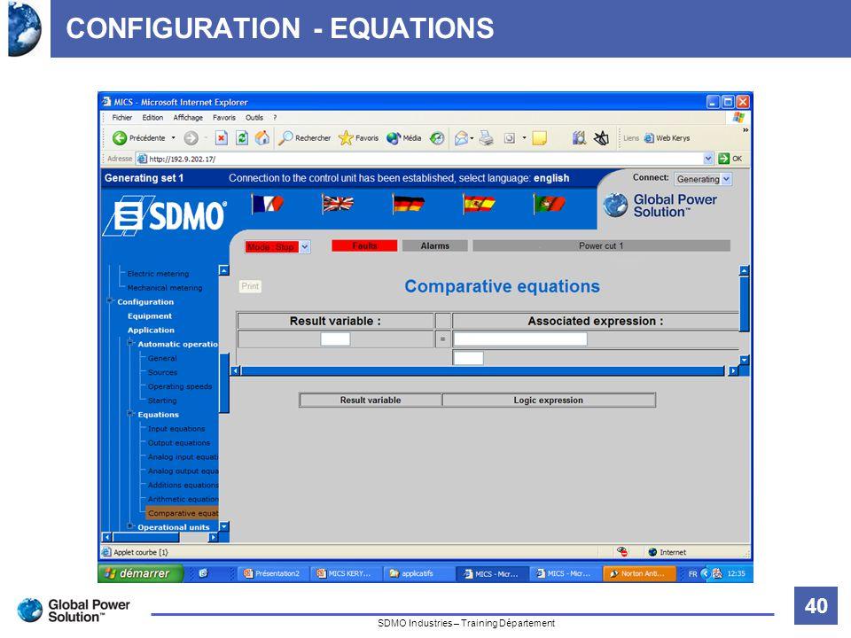 40 Titre de la diapositive SDMO Industries – Training Département CONFIGURATION - EQUATIONS