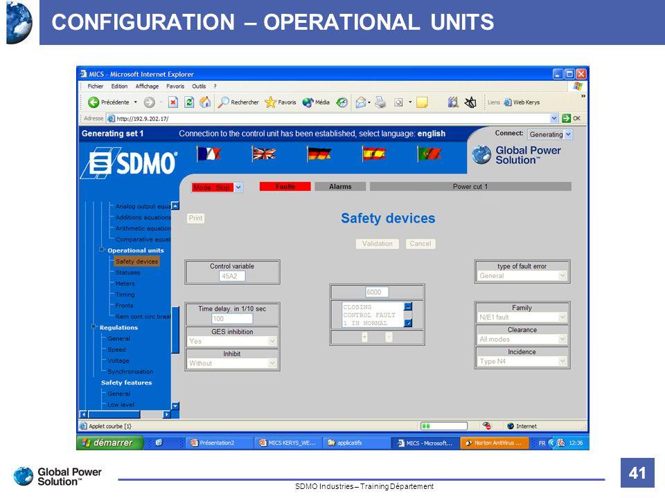 41 Titre de la diapositive SDMO Industries – Training Département CONFIGURATION – OPERATIONAL UNITS