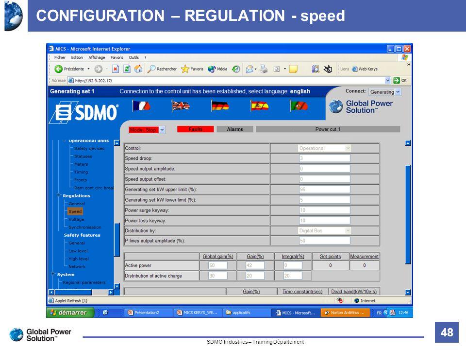 48 Titre de la diapositive SDMO Industries – Training Département CONFIGURATION – REGULATION - speed