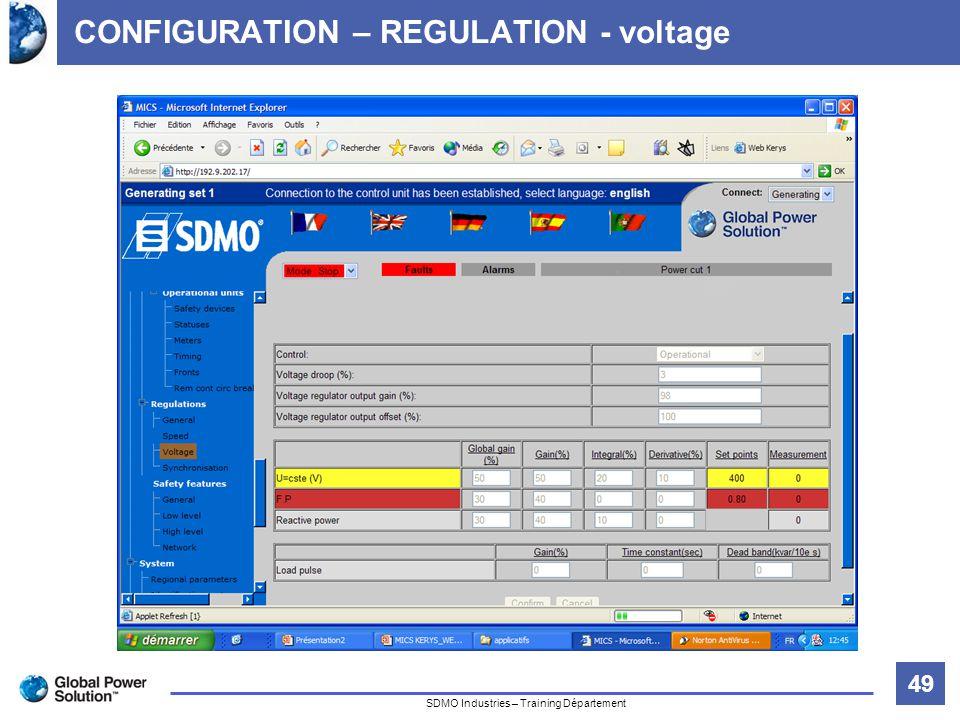 49 Titre de la diapositive SDMO Industries – Training Département CONFIGURATION – REGULATION - voltage