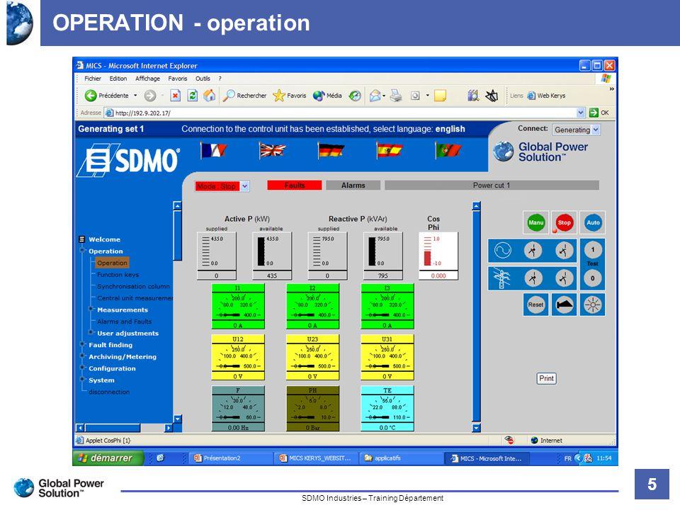 16 Titre de la diapositive SDMO Industries – Training Département USER ADJUSTMENTS – set points