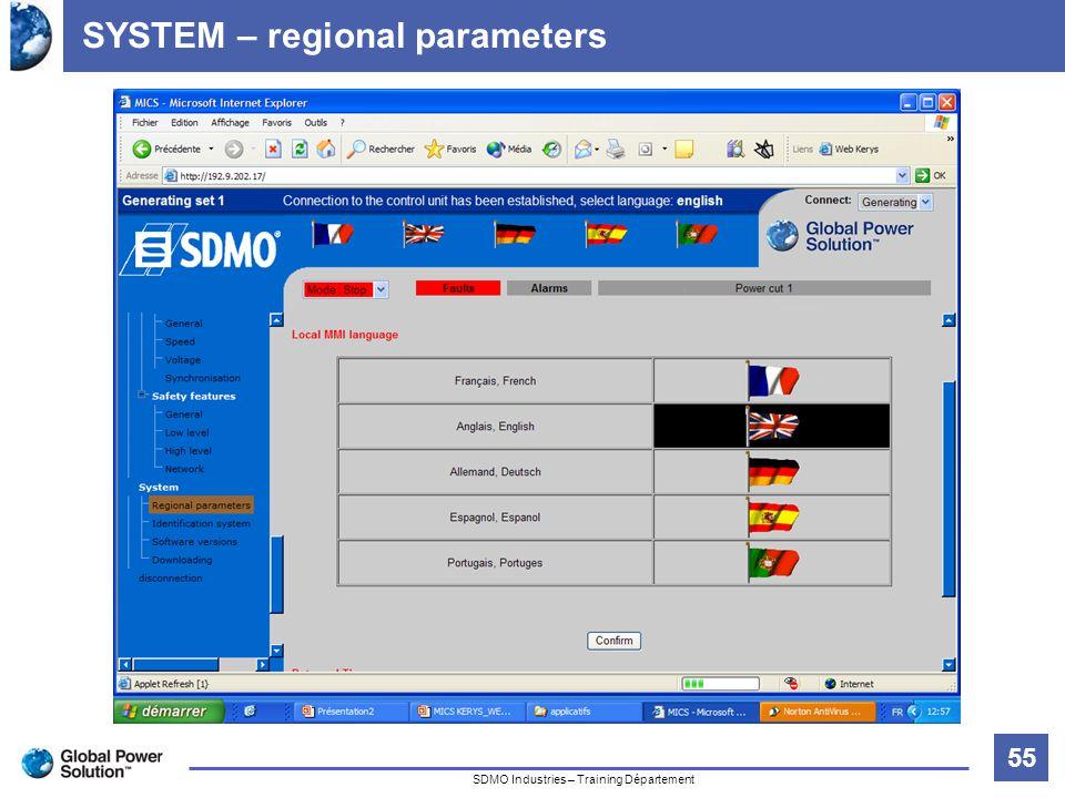 55 Titre de la diapositive SDMO Industries – Training Département SYSTEM – regional parameters