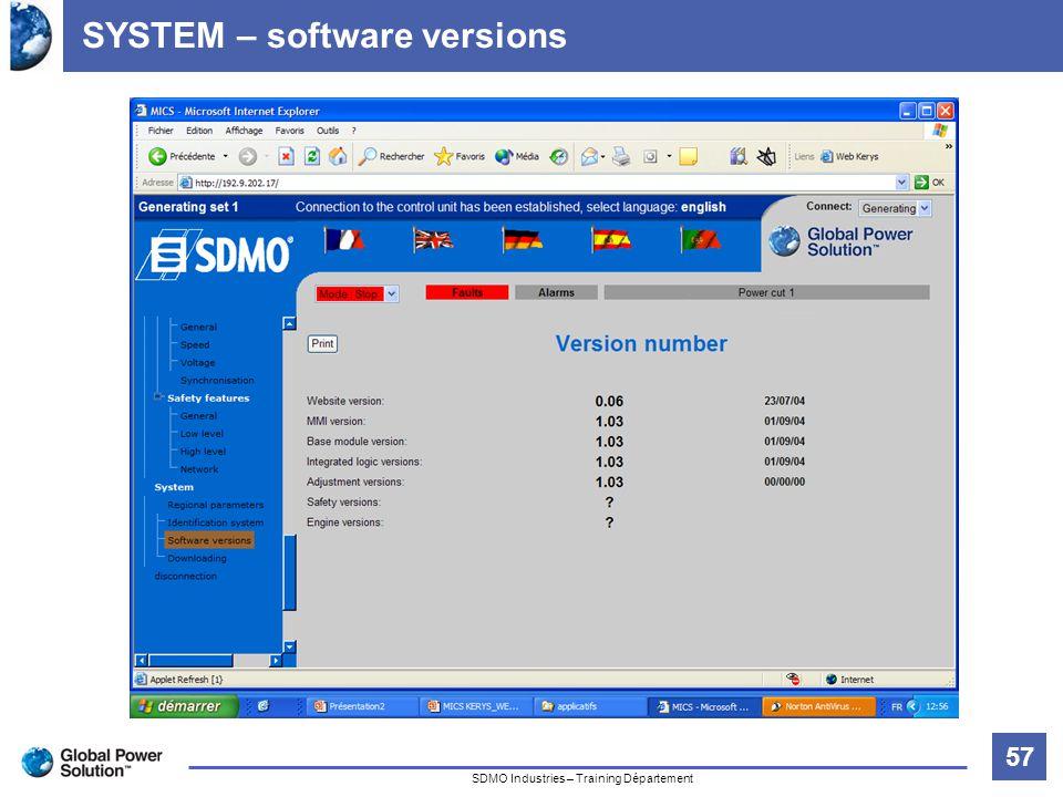 57 Titre de la diapositive SDMO Industries – Training Département SYSTEM – software versions