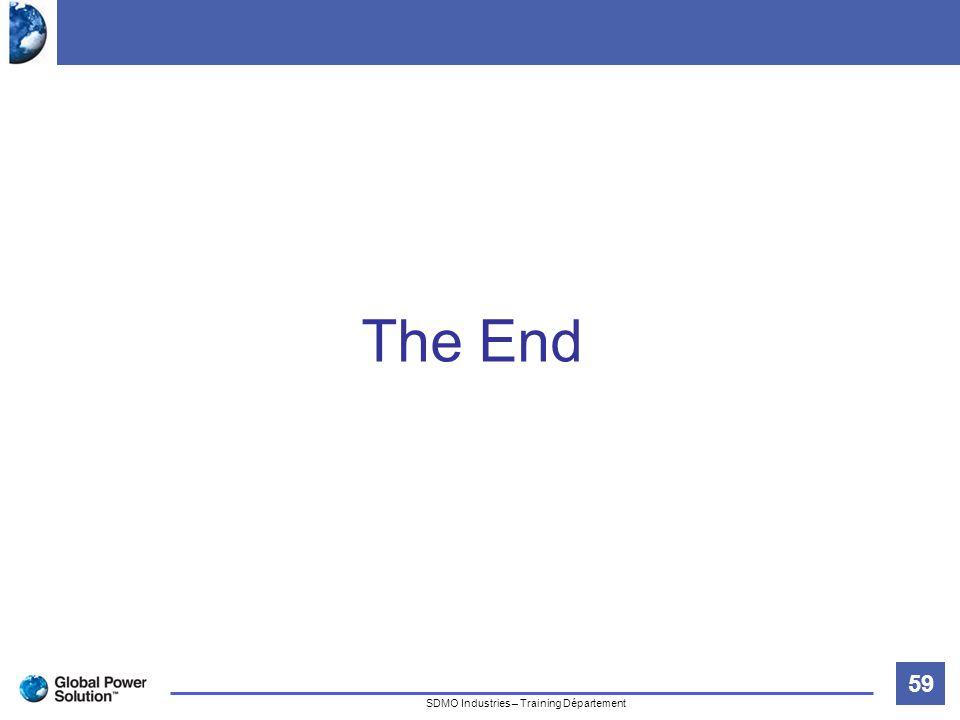 59 Titre de la diapositive SDMO Industries – Training Département The End