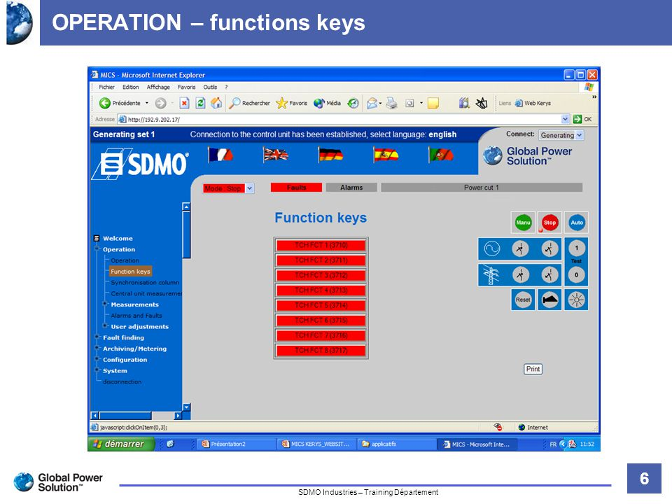 6 Titre de la diapositive SDMO Industries – Training Département OPERATION – functions keys