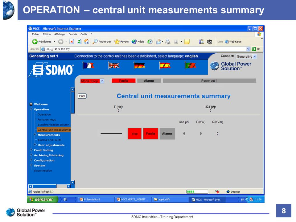 8 Titre de la diapositive SDMO Industries – Training Département OPERATION – central unit measurements summary