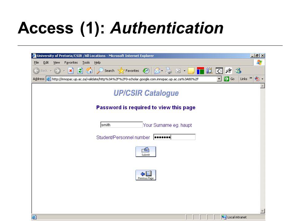 Access (1): Authentication