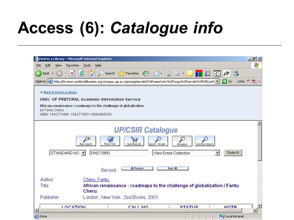Access (6): Catalogue info