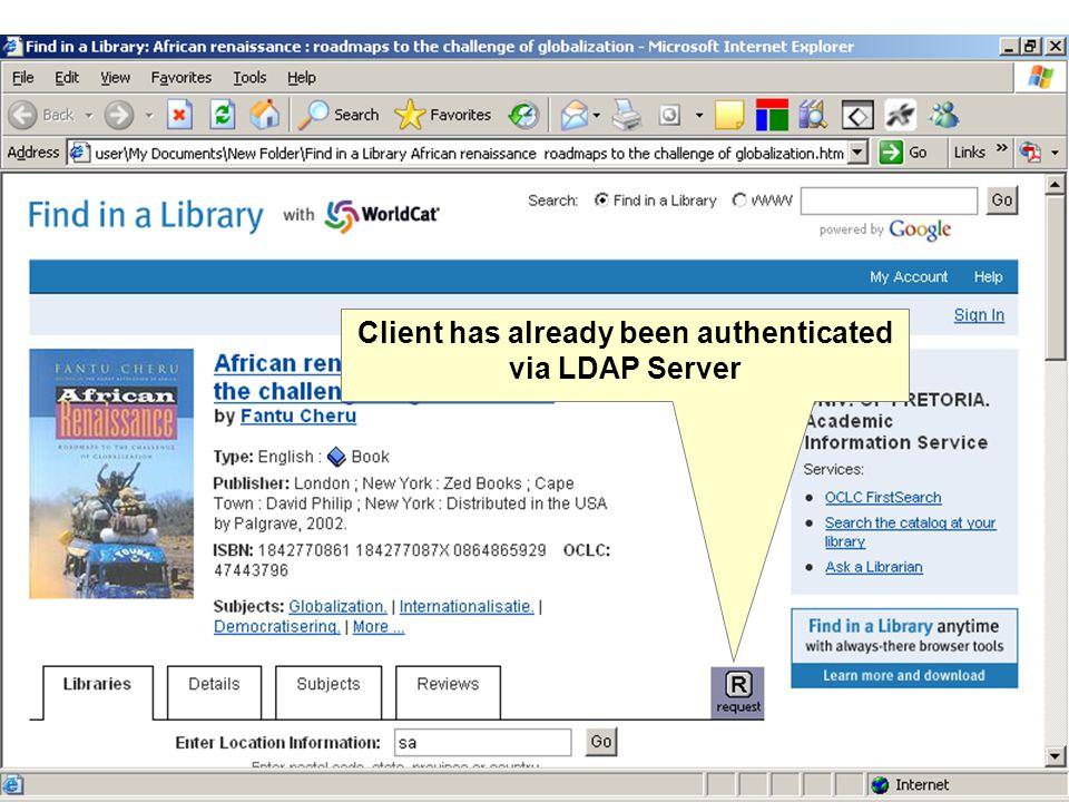Client has already been authenticated via LDAP Server