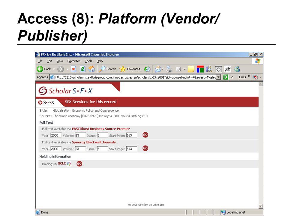 Access (8): Platform (Vendor/ Publisher)