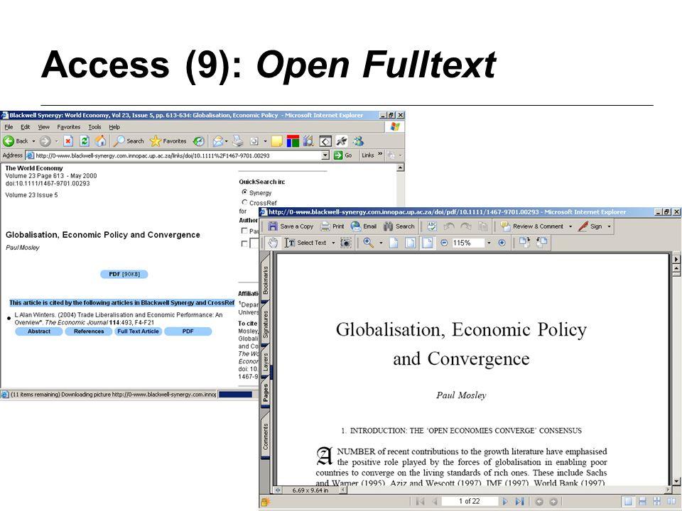 Access (9): Open Fulltext