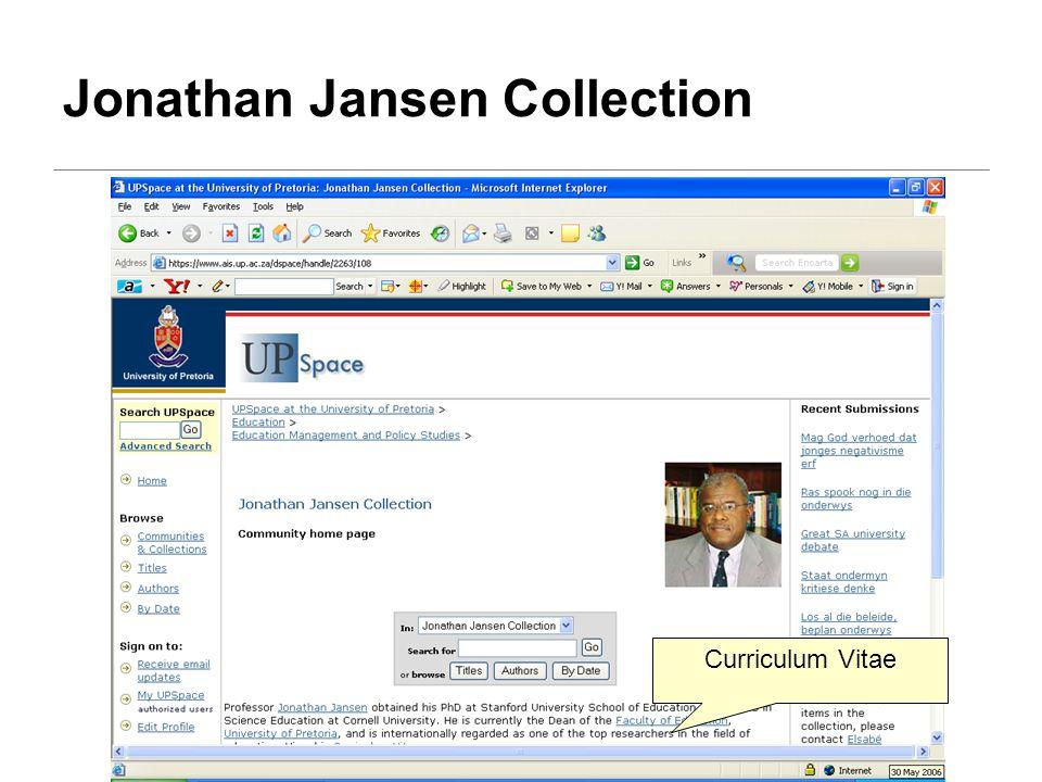 Jonathan Jansen Collection Curriculum Vitae