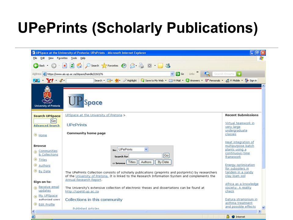 UPePrints (Scholarly Publications)