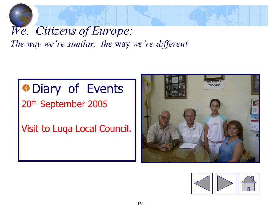 19 We, Citizens of Europe: The way we're similar, the way we're different Diary of Events 20 th September 2005 Visit to Luqa Local Council.