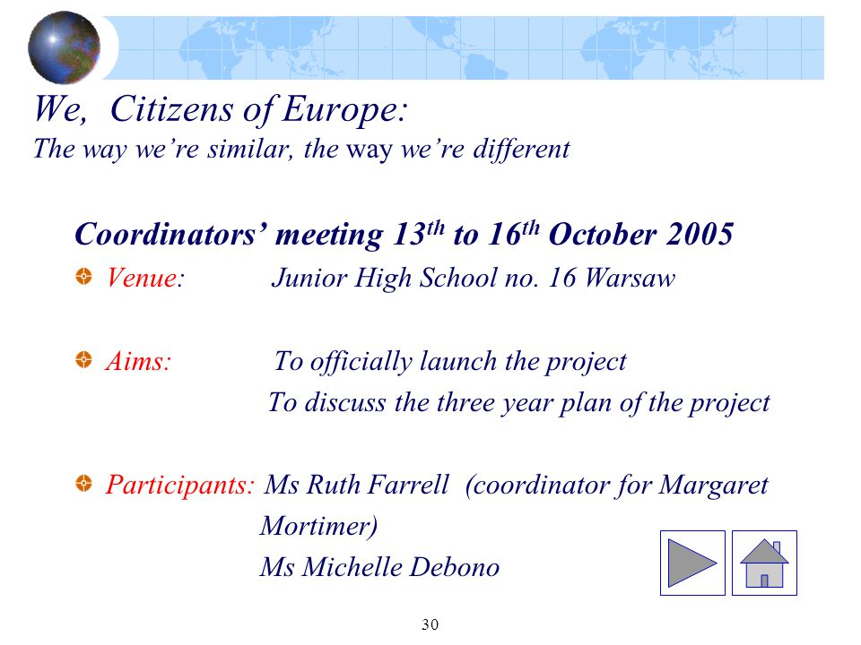 30 We, Citizens of Europe: The way we're similar, the way we're different Coordinators' meeting 13 th to 16 th October 2005 Venue: Junior High School no.