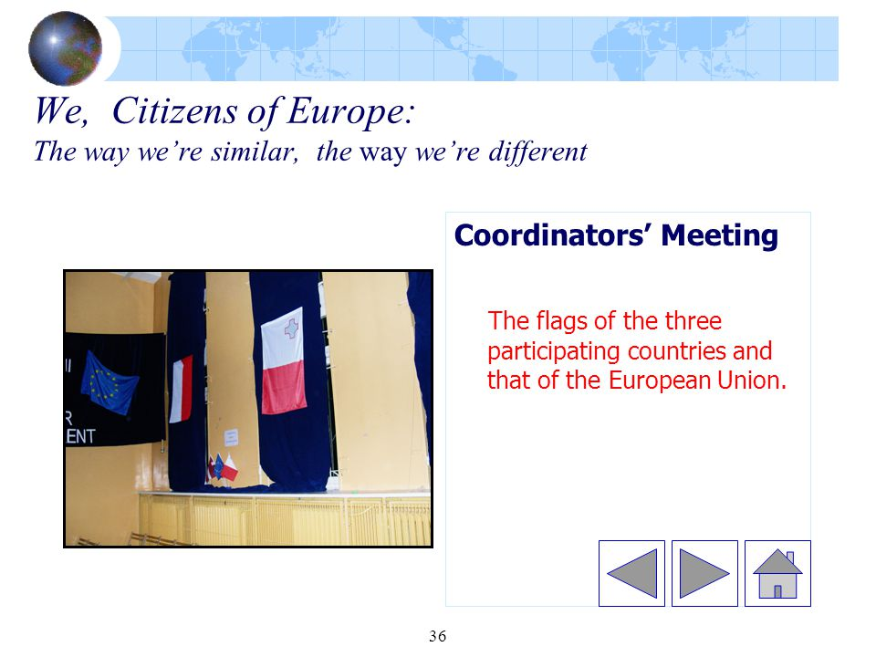 36 We, Citizens of Europe: The way we're similar, the way we're different Coordinators' Meeting The flags of the three participating countries and that of the European Union.