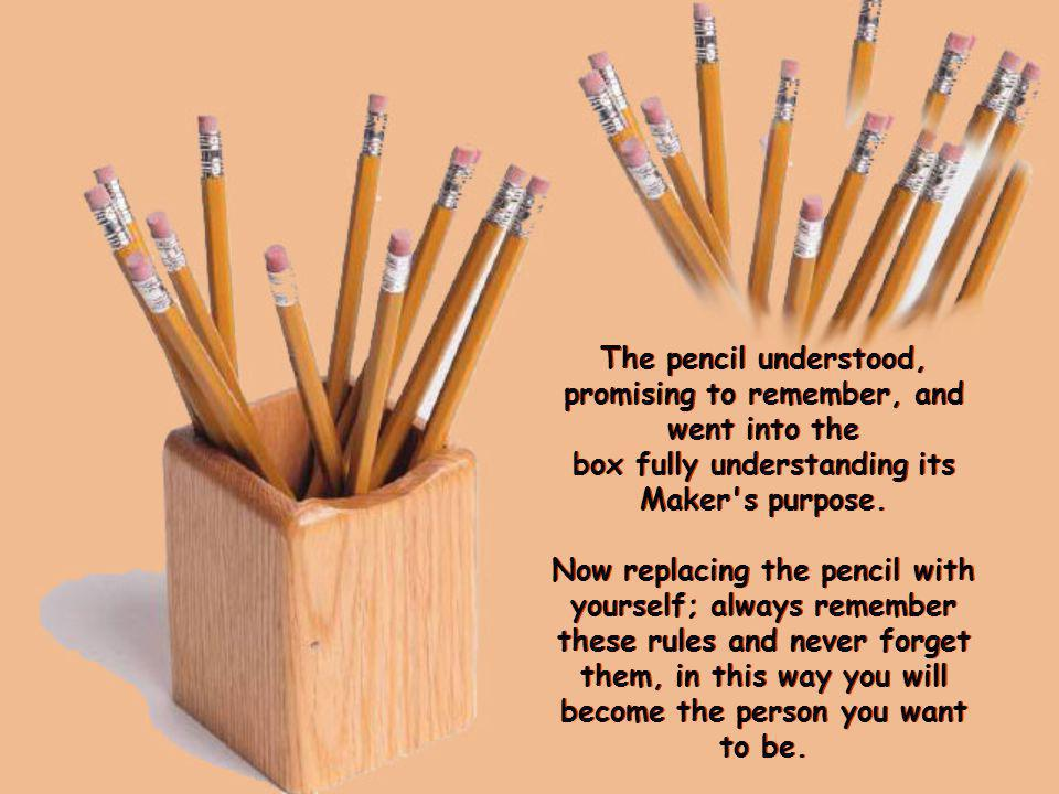 The pencil understood, promising to remember, and went into the box fully understanding its Maker s purpose.