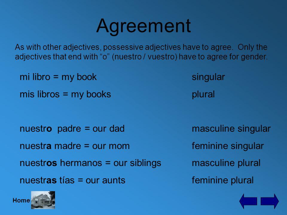 Possessive Adjectives my = mi / mis your = tu / tus his = su / sus her = su / sus its = su / sus our = nuestro, a / nuestros, as your (plural) = vuestro, a / vuestros, as your (plural) = su / sus their = su / sus Here are all the possessive adjectives.