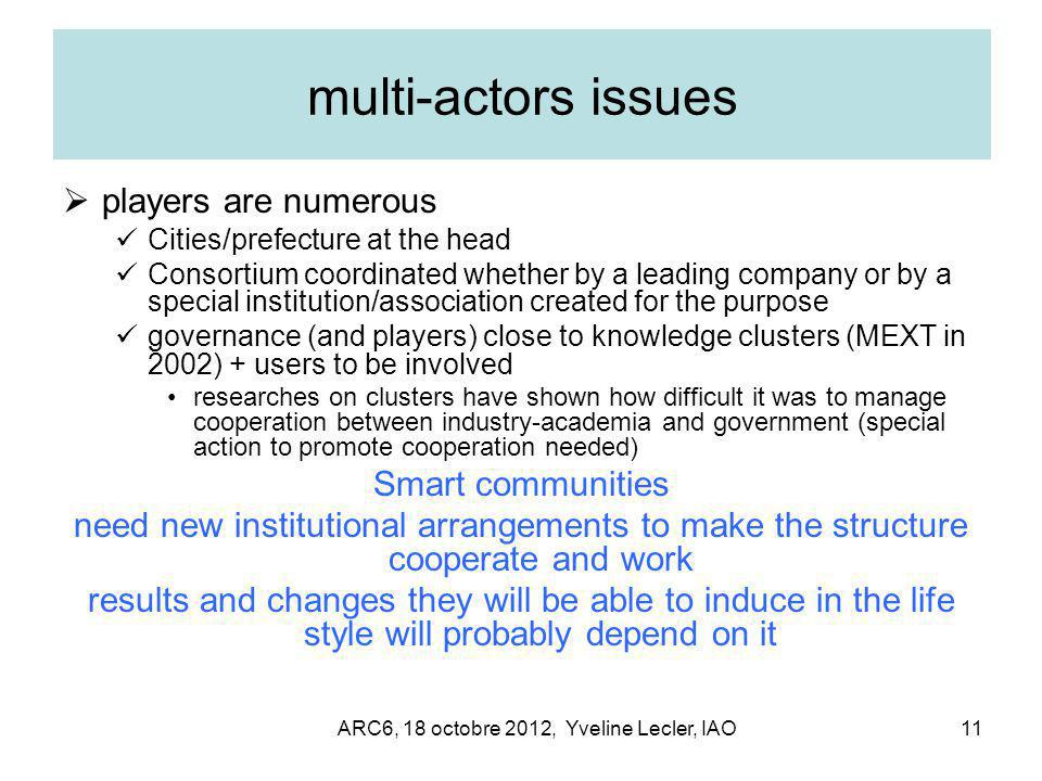 ARC6, 18 octobre 2012, Yveline Lecler, IAO11 multi-actors issues  players are numerous Cities/prefecture at the head Consortium coordinated whether b