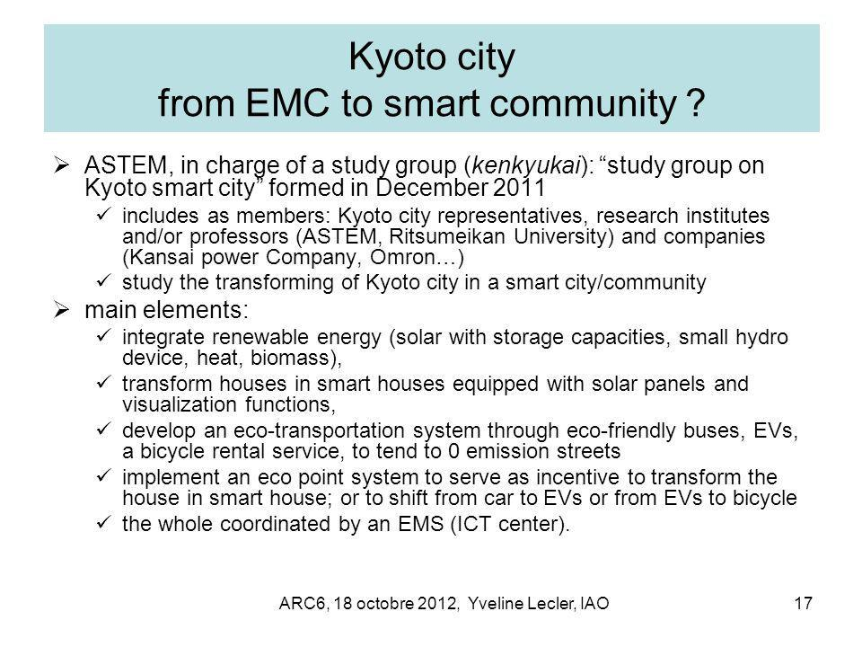 ARC6, 18 octobre 2012, Yveline Lecler, IAO17 Kyoto city from EMC to smart community .