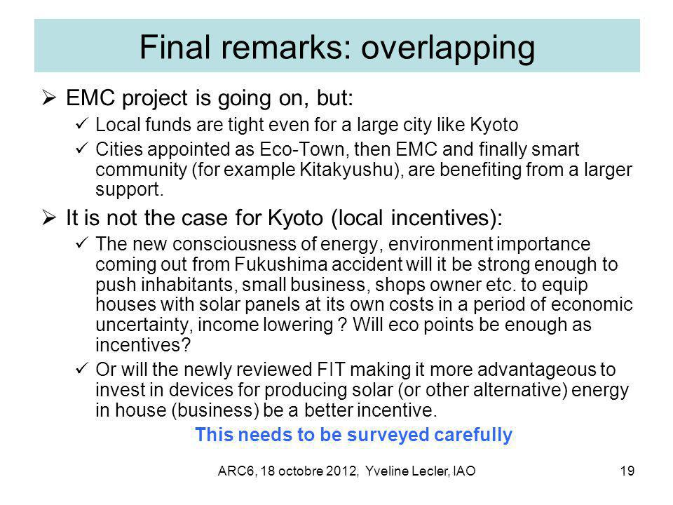 ARC6, 18 octobre 2012, Yveline Lecler, IAO19 Final remarks: overlapping  EMC project is going on, but: Local funds are tight even for a large city like Kyoto Cities appointed as Eco-Town, then EMC and finally smart community (for example Kitakyushu), are benefiting from a larger support.