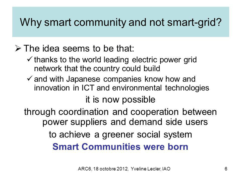ARC6, 18 octobre 2012, Yveline Lecler, IAO6 Why smart community and not smart-grid.