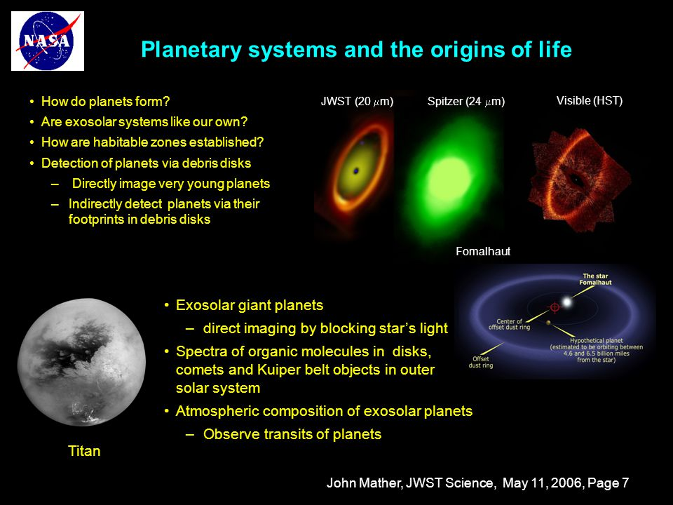 John Mather, JWST Science, May 11, 2006, Page 8 JWST characterizes transiting planets Transit light curves  Kepler extrasolar giant planets Transit Spectroscopy  Terrestrial planets around M stars  Atmospheres of Kepler giant planets HST: planet transits star Spitzer: planet passes behind star