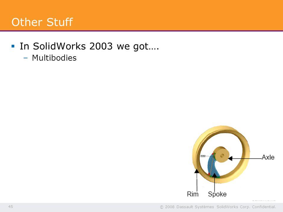 45 © 2008 Dassault Systèmes SolidWorks Corp. Confidential.