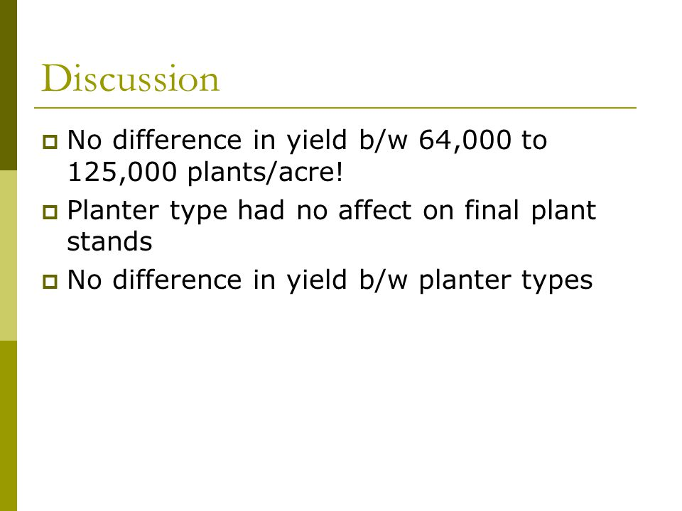 Discussion  No difference in yield b/w 64,000 to 125,000 plants/acre.