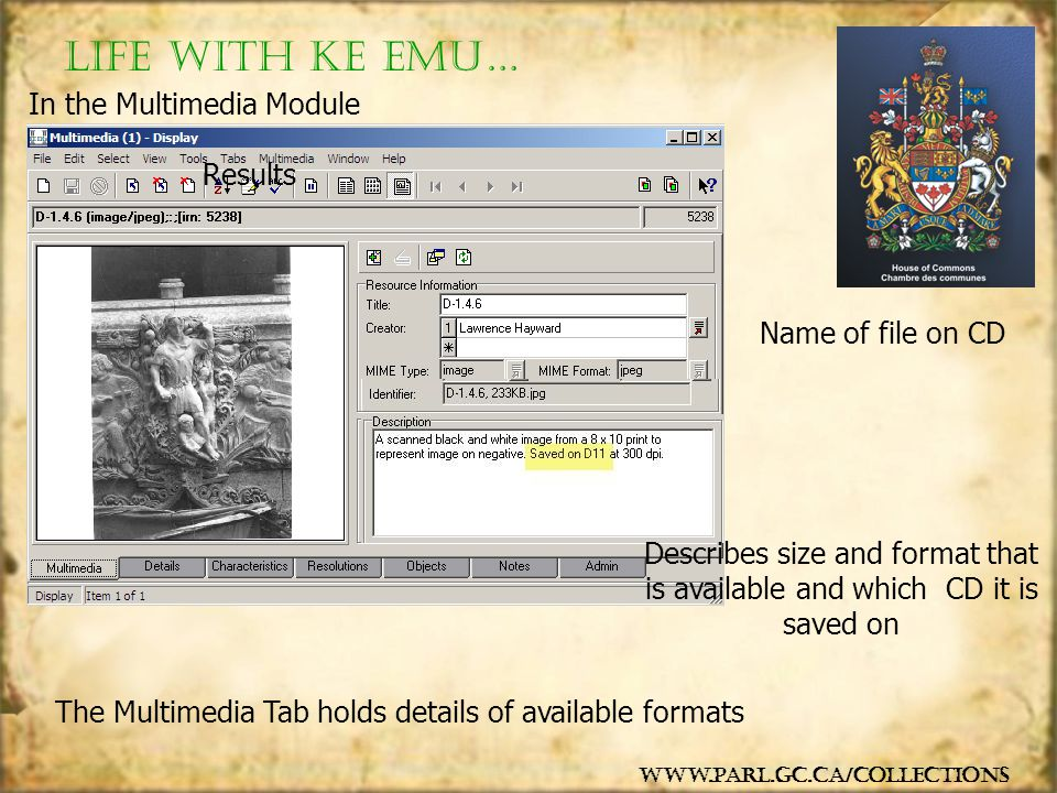 The Multimedia Tab holds details of available formats Name of file on CD Describes size and format that is available and which CD it is saved on In th