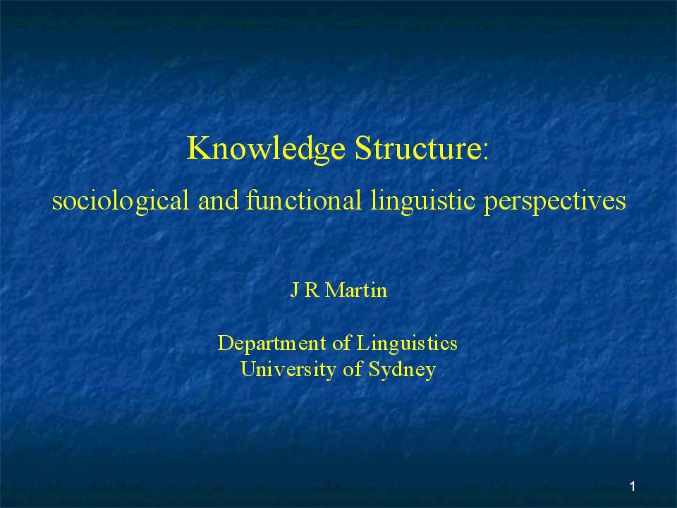 2 knowledge structure SFL Sociology of knowledge [Bernstein]