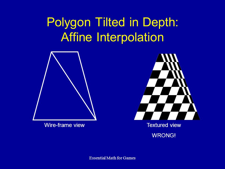Essential Math for Games Polygon Tilted in Depth: Affine Interpolation Textured view WRONG! Wire-frame view