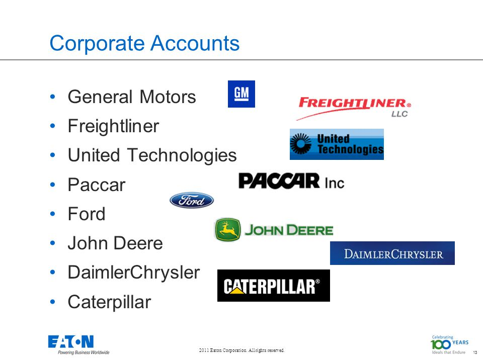 2011 Eaton Corporation. All rights reserved. 13 Corporate Accounts General Motors Freightliner United Technologies Paccar Ford John Deere DaimlerChrys