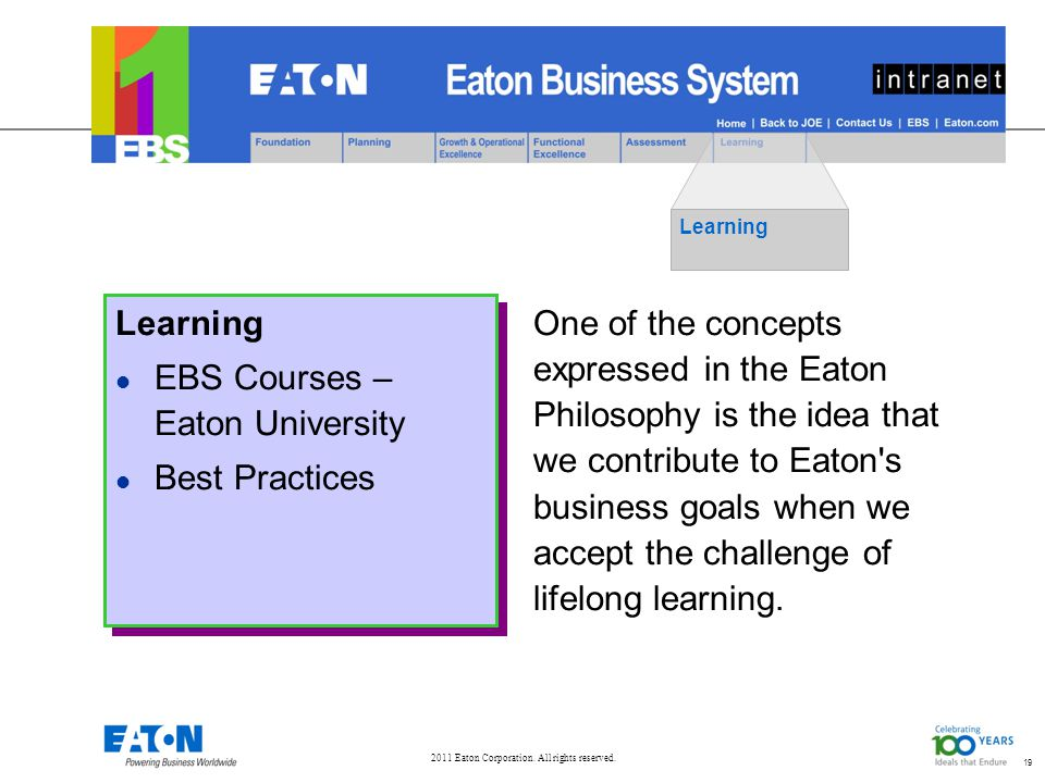 2011 Eaton Corporation. All rights reserved. 19 Learning l EBS Courses – Eaton University l Best Practices Learning l EBS Courses – Eaton University l