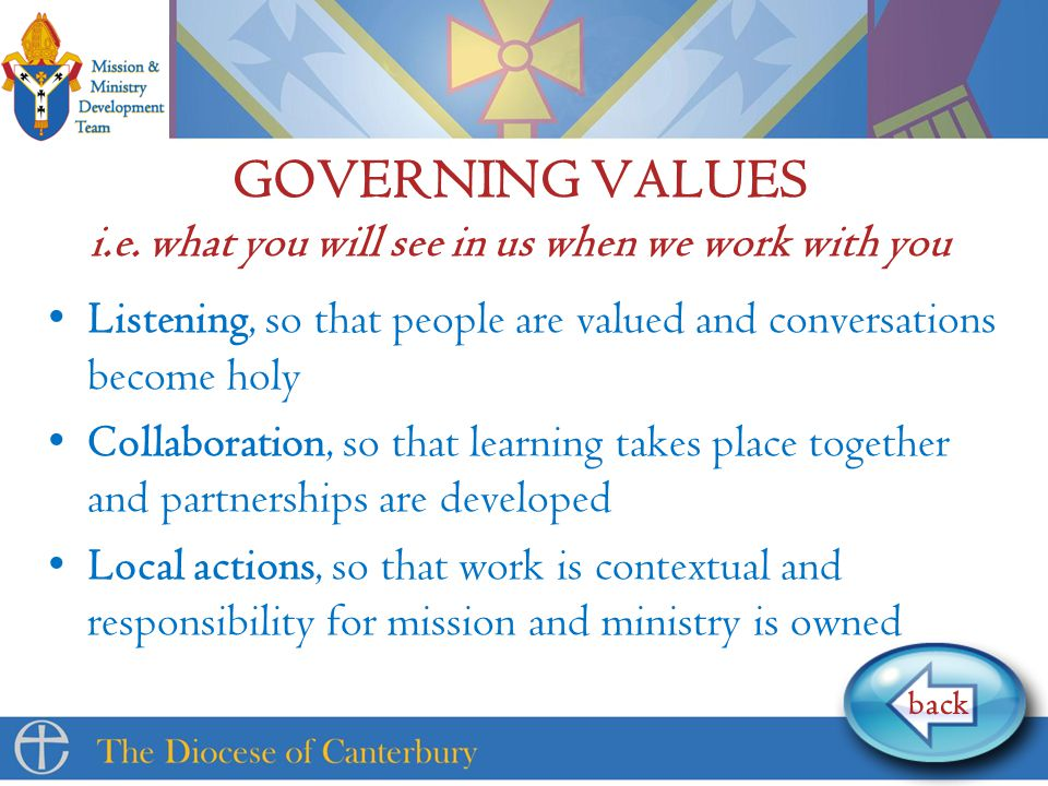 GOVERNING VALUES i.e.