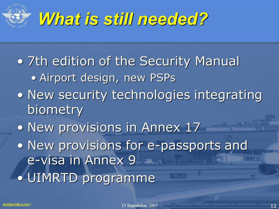 ©SGM/DRA2007 12 15 September 2007 7th edition of the Security Manual7th edition of the Security Manual Airport design, new PSPsAirport design, new PSP
