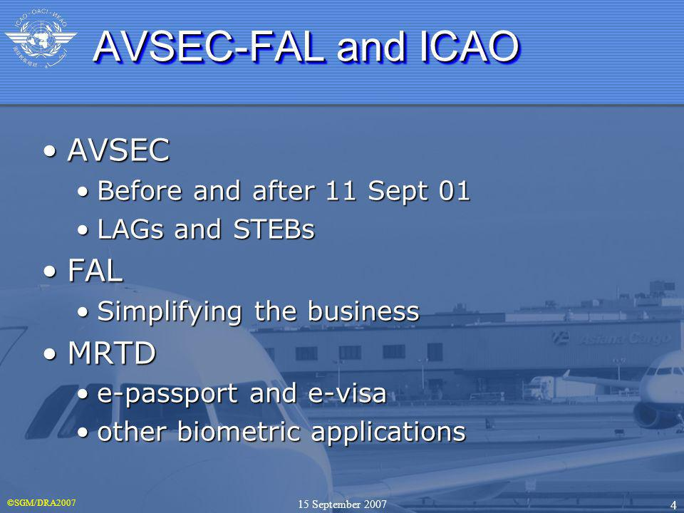©SGM/DRA2007 4 15 September 2007 AVSEC-FAL and ICAO AVSECAVSEC Before and after 11 Sept 01Before and after 11 Sept 01 LAGs and STEBsLAGs and STEBs FAL